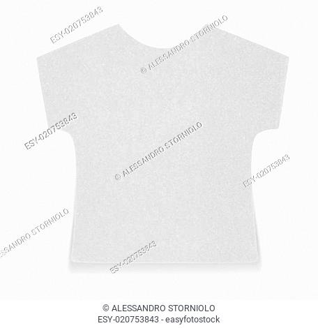 Flat gray T-shirt sticky note, isolated on white background, with shadow on bottom