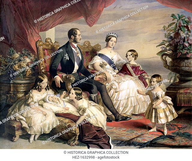 'Queen Victoria and Prince Albert with Five of their Children', 1846. Family portrait of Queen Victoria (1819-1901) and Prince Albert (1819-1861) and offspring