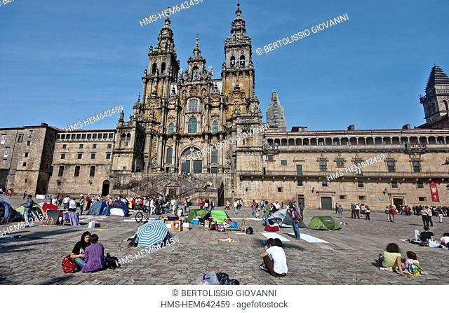 Spain, Galicia, Santiago de Compostella, listed as World Heritage by UNESCO, cathedral of the place occupied by protesters Obradoiro the outrage