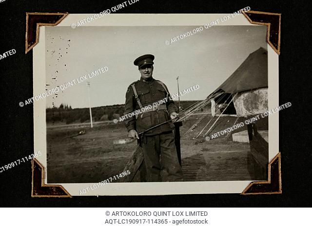 Photograph - Portrait of a Serviceman By a Tent, Palestine, Sister Isabel Erskine Plante, World War II, circa 1942, One of 135 black and white photographs...