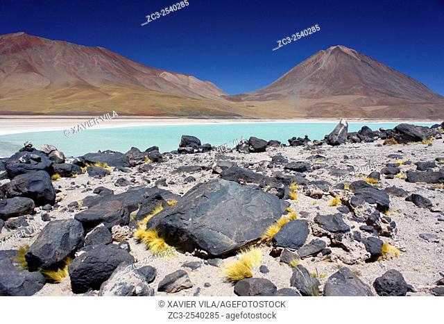 Volcan Licancabur, lagoon with salt, near the salar de Uyuni, national reserve of Andean Fauna Eduardo Avaroa in the South Lipez Province, Department of Potosi