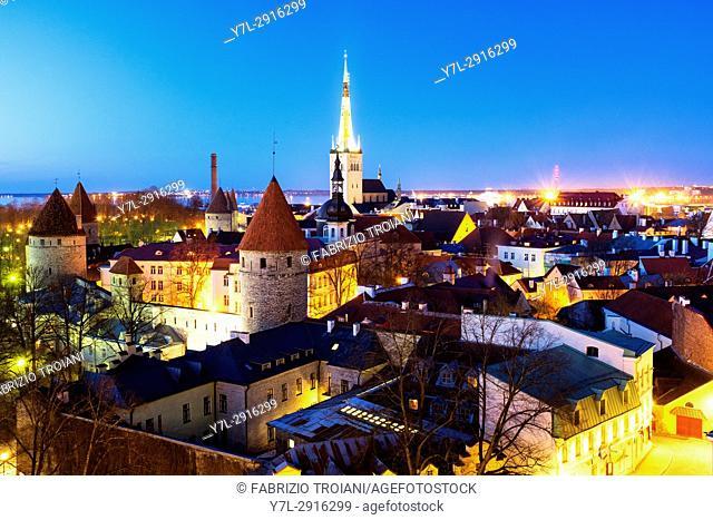 Panoramic view of Tallinn's Old City from the Piiskopi viewing platform, Tallinn, Estonia