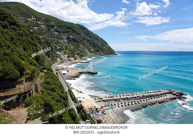Rocky beaches, pebble beaches, breakwaters on the outskirts, view from the castle ruins, Moneglia, Genoa Province, Liguria