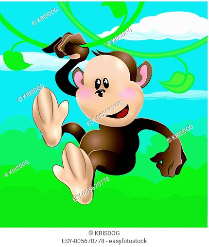 Monkey Swinging On Vines Cartoon Stock Photos And Images