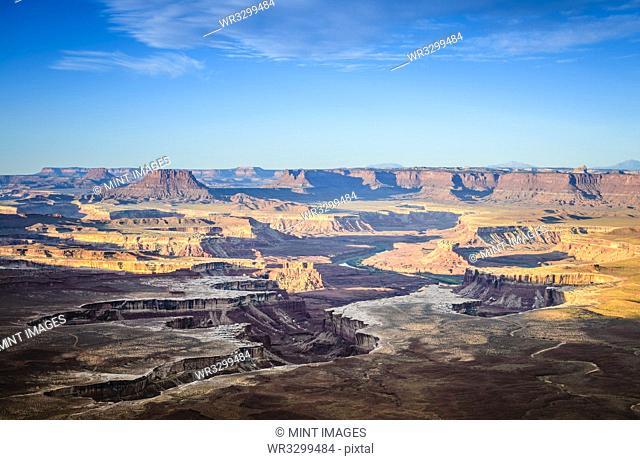 Aerial view of Horseshoe Bend, Canyonlands, Utah, United States