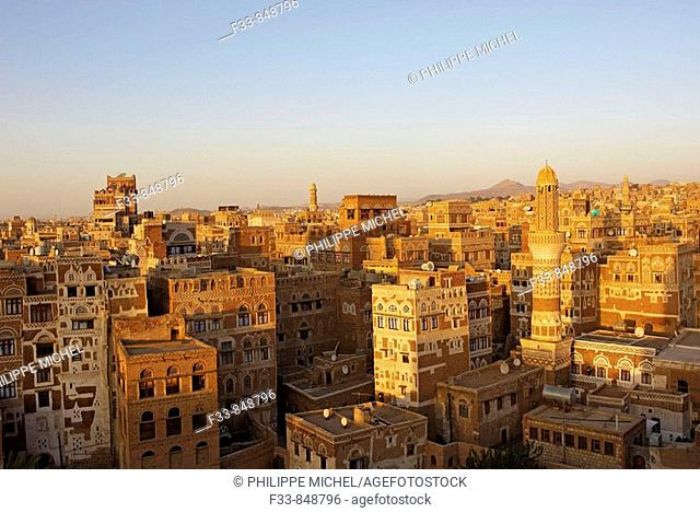 Elevated view of old town, Sana'a, Yemen
