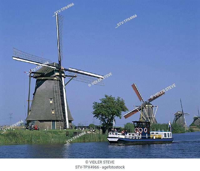 Boat, Canal, Holiday, Holland, Europe, Kinderdijk, Landmark, Netherlands, Tour, Tourism, Travel, Vacation, Windmills