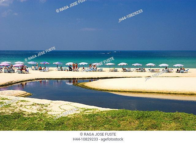 Thailand, Asia, island, isle, Phuket, Karon Beach, beach, seashore, sandy beach, beach, umbrellas, sunshades, deck cha