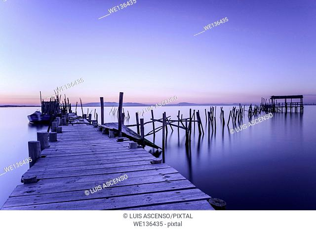 Carrasqueira sunset, Potugal, Sado river, Setúbal, Comporta, Carrasqueira, pier stilts in wood, long exposure