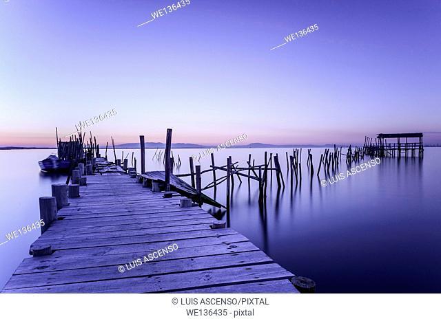 Carrasqueira sunset, Potugal, Sado river, Setúbal, Comporta, Carrasqueira, pier stilts in wood, long exposure