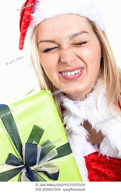Closeup of Christmas woman making funny faces