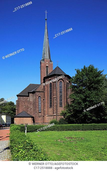 Germany, Moers, Lower Rhine, Ruhr area, Rhineland, North Rhine-Westphalia, NRW, Saint Josef church, catholic church, parish church, pseudo basilica