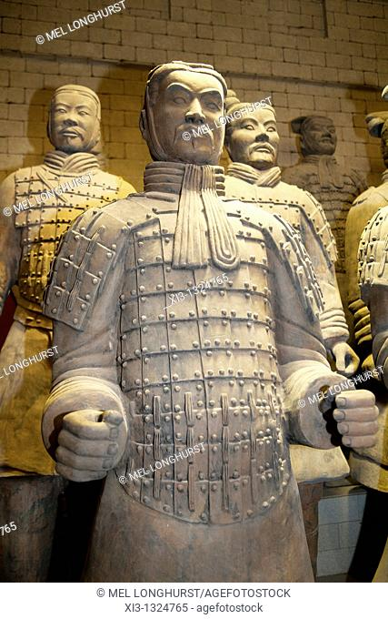 Life-size model of a terracotta warrior for sale, Xi'an, Shaanxi Province, China