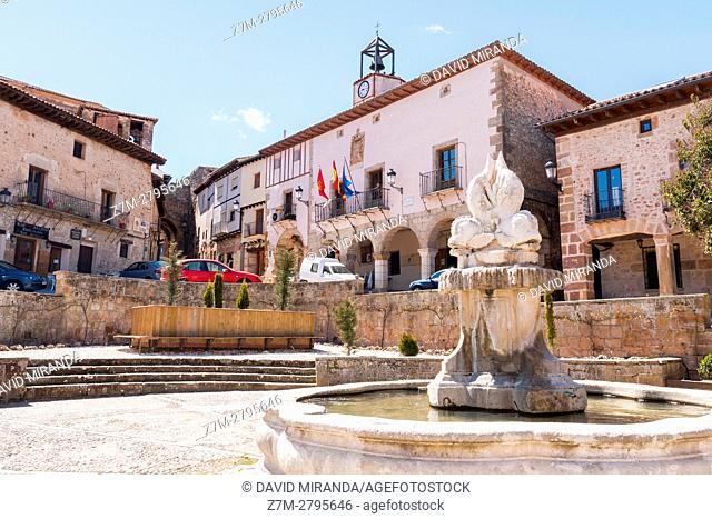 Plaza de España Square and City Hall, Atienza, Guadalajara province, Castile La Mancha, Spain. Historical Heritage Site