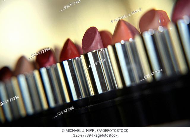 Row of lipsticks on display