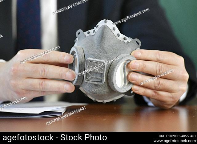 Zdenek Peroutka, dean of the University of West Bohemia (ZUC), shows a top class respirator made with 3D print technology during a press conference, on March 24