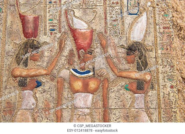 Ancient egyptian paintings on the stone plate