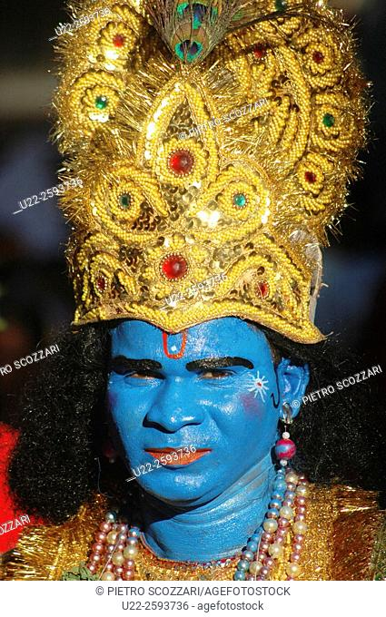 India, Goa, Panjim, Shigmostsav festival, portrait of a man