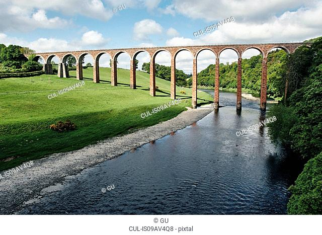 Elevated view of river and Leaderfoot railway viaduct, Melrose, Scotland