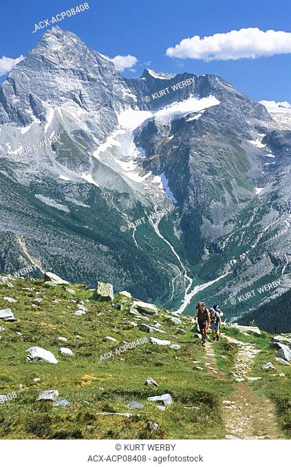 Hiking up Abbott Ridge with Mt Sir Donald in the background Glacier National Park, British Columbia, Canada