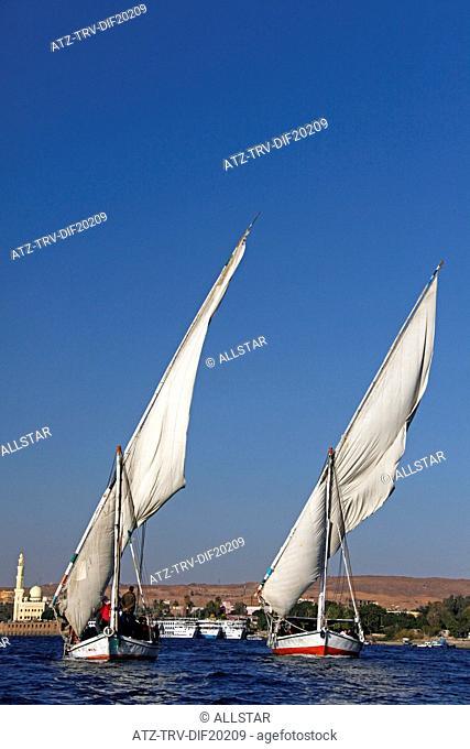 EGYPTIAN TOURIST FELUCCAS; RIVER NILE, ASWAN, EGYPT; 10/01/2013