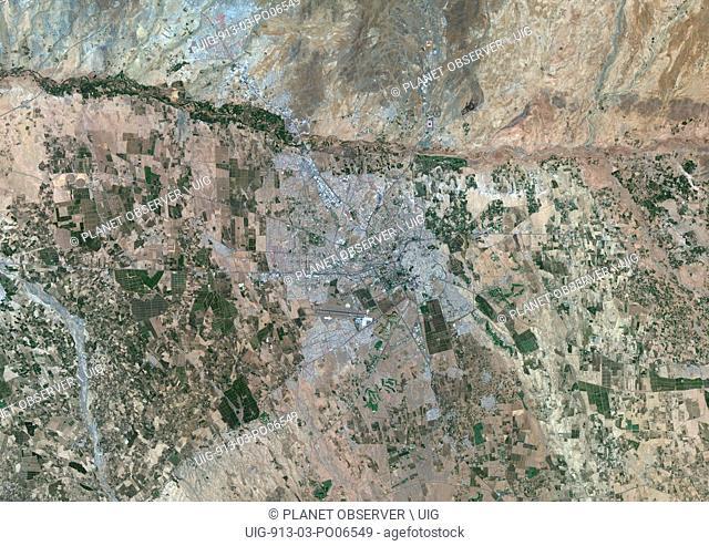 Colour satellite image of Marrakesh, Morocco. Image taken on August 12, 2014 with Landsat 8 data