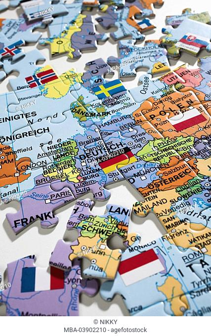 Puzzle, puzzle-parts, map, Europe, incomplete