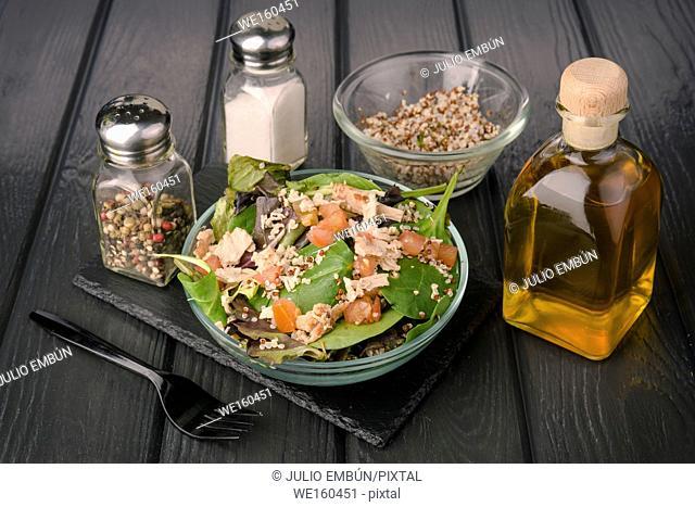 salad on black wooden board
