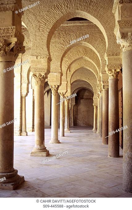 Interior courtyard of the Great Mosque in Kairouan. Tunisia