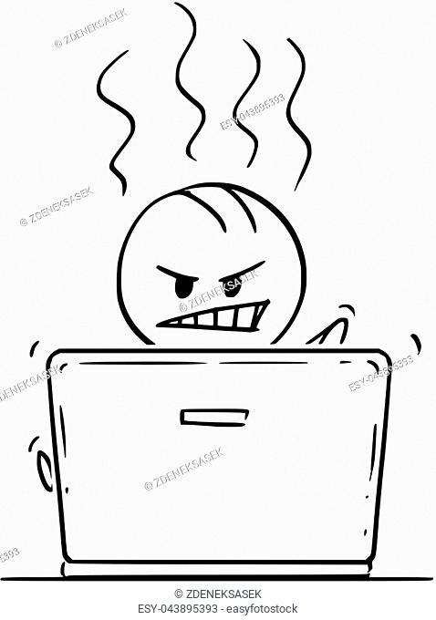 Cartoon stick drawing conceptual illustration of angry man or businessman working or typing on laptop or notebook computer