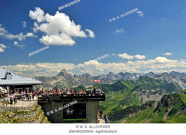 tourists at mountain station of Nebelhornbahn at Nebelhorn 2224 m, Hochvogel 2592 m in the background, Germany, Bavaria, Allgaeu Alps