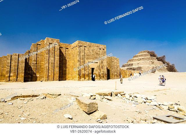 Hipsotyle hall and Step Pyramid at the funerary complex of Zoser at Saqqara