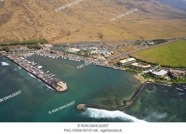 Hawaii, Maui, Maalaea Harbor, Harbor shops and Maui Ocean Center, aerial