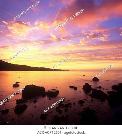 Sunrise on Robert's Creek Beach, Sunshine Coast, British Columbia, Canada