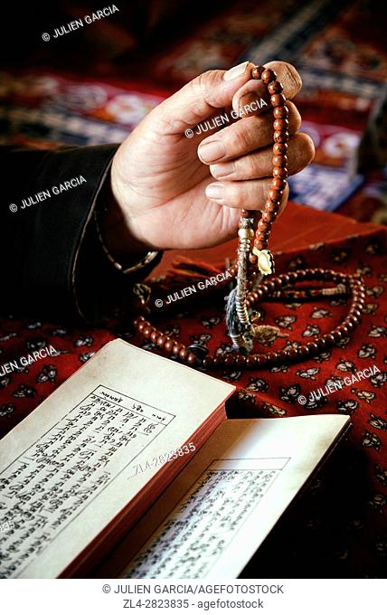 India, Jammu and Kashmir State, Himalaya, Ladakh, hand of a woman holding a rosary (Buddhist prayer beads) and reading Buddhist texts, Model Released