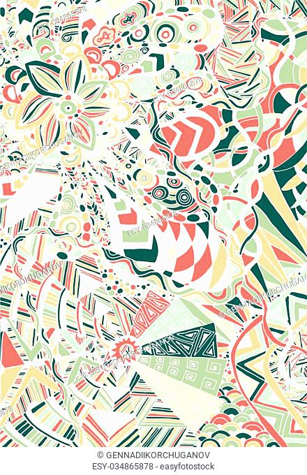 Hand draw abstract floral painted in trendy colors and patterns in the style of zentangle, Doodle can be used as a logo on banners, flyers, posters, printing