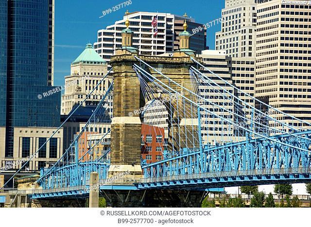 Roebling Suspension Bridge Ohio River Downtown Cincinnati Ohio Usa