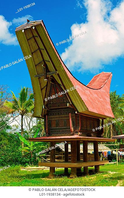 Typical Housing of Toraja country. Sulawesi, Indonesia