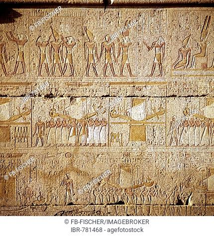 Hieroglyphs, relief depicting Egyptian gods, Luxor, Thebes, Egypt