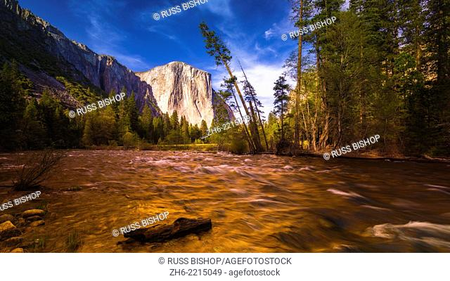 Evening light on El Capitan from the Merced River, Yosemite National Park, California USA