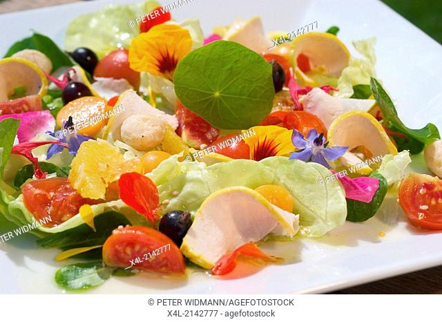 food salad with blossoms