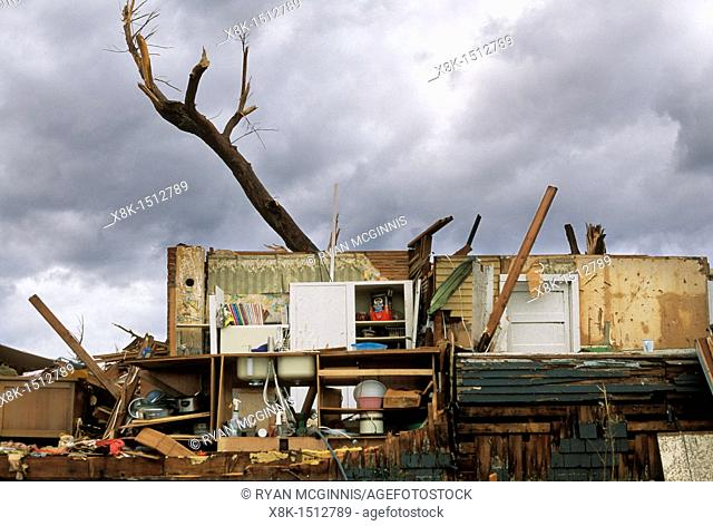 The exposed kitchen of a destroyed home after a tornado in Joplin, Missouri, May 25, 2011  On May 22, 2011, Joplin Missouri was devastated by an EF-5 tornado