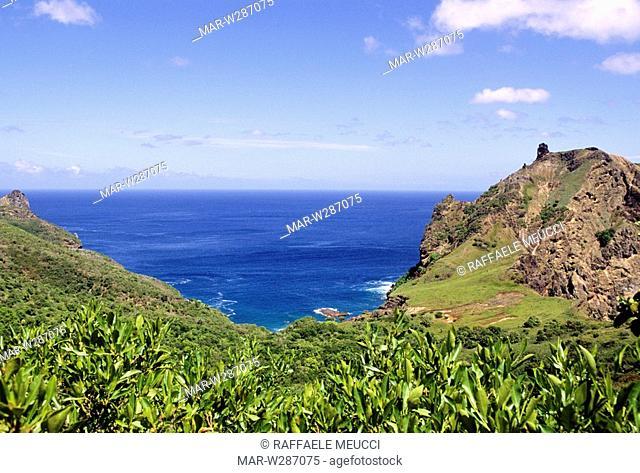 franch polynesia, marquesas islands, ua-pou, bay of bon accueil, where etienne marchand landing in 1791
