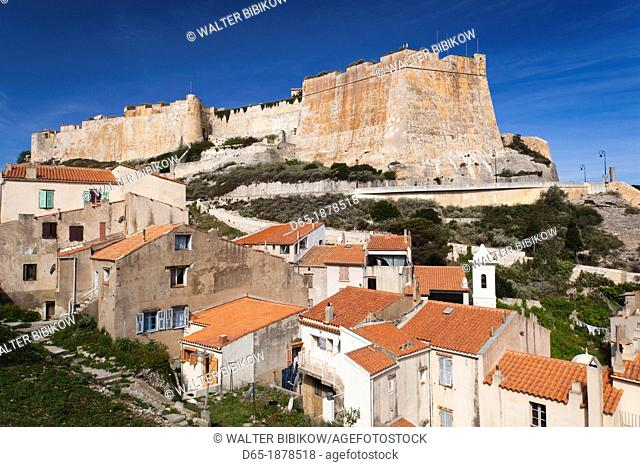 France, Corsica, Corse-du-Sud Department, Corsica South Coast Region, Bonifacio, elevated view of the Haut Ville high city and Citadel