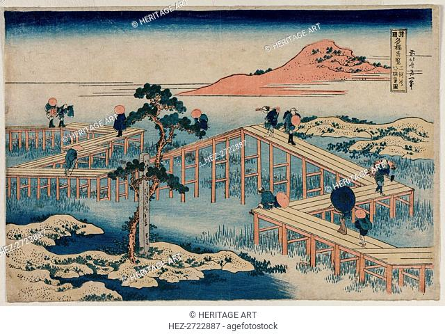 An Ancient Picture of the Eight Part Bridge in Mikawa Province.., early 1830s. Creator: Unknown