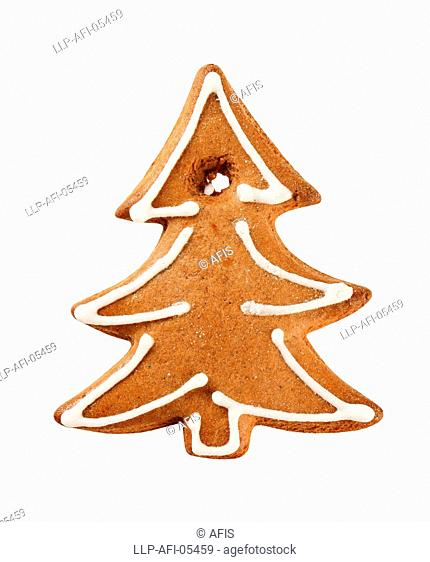 Gingerbread cookie in the shape of a tree