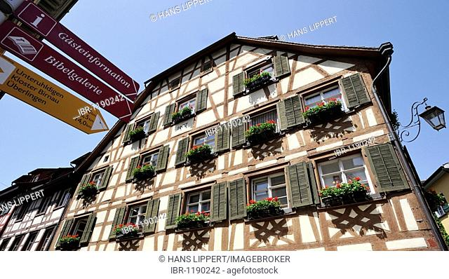 Half-timbered house in the city of Meersburg, Lake Constance, Baden-Wuerttemberg, Germany, Europe