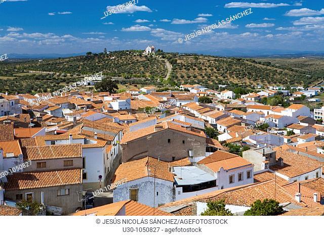 Overview of Valencia de Alcántara from the castle  Cáceres province  Extremadura  Spain