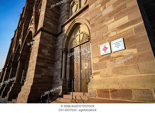 Information boards, St Paul protestant church 19th century, Strasbourg, Alsace, France