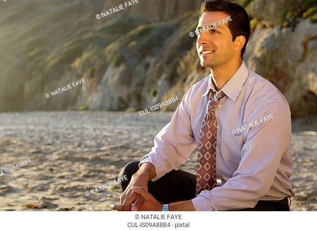 Businessman sitting on El Matador beach smiling, California, USA